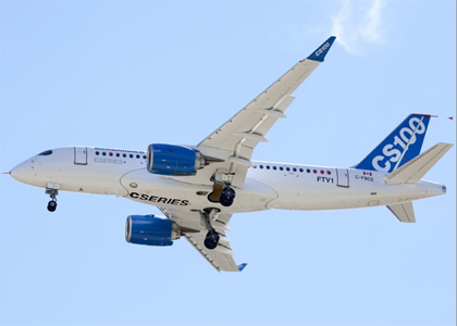 Bombardier's CSeries airliner took its first flight Monday.