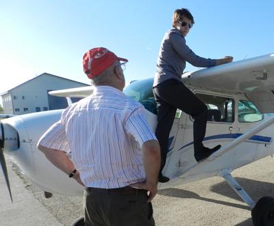 Runner-up Stuart Loney gets ready for his flight