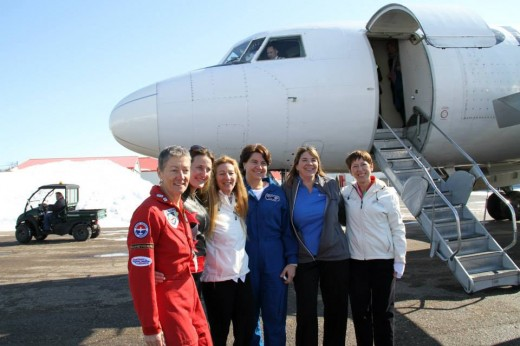 VIP participants in the Women of Aviation Worldwide event in Lachute, QC get ready to board a Nolinor Convair.