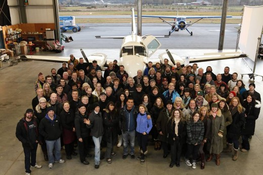 Arctic Air cast and crew posed for a farewell photo at a hangar at YVR.