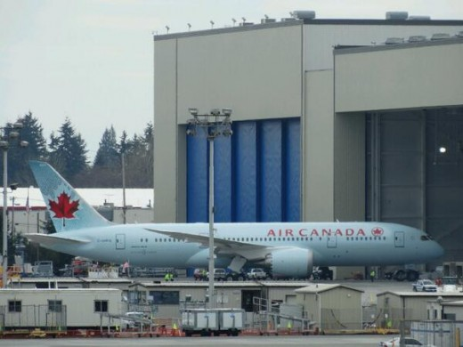 Air Canada's first Boeing 787 is ready for delivery in Everett, Washington.