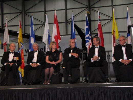 The inductees for Canada's Aviation Hall of Fame for 2014 were presented at the WestJet hangar on May 29.  Inducted this year, from left,  were  Robert Engle,  Clive Beddoe,  Lorna deBlicquy (inducted posthumously and represented by her daughter, Elaine deBlicquy), and  Fred Moore.  They were joined on stage by 2005 inductee Colonel (Ret.) Chris Hadfield and Hall of Fame Chairman Tom Appleton