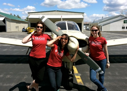 From left, Emily Fowler, Annie Wen and Sonya Vinderskov are competing in the Air Race Classic.