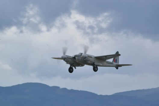 A former Spartan Air Services Mosquito rebuilt by Victoria Air Maintenance flew June 16. Photo by Bill Ehman