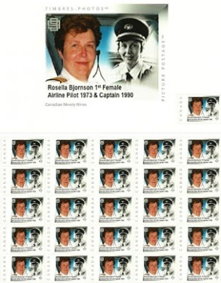 Rosella Bjornson, Canada's first female airline pilot, has had a stamp issued in her honour.