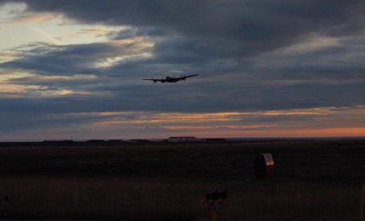 CWH's Lancaster landed at sunset in Keflavik on Aug. 6 on the way to England.