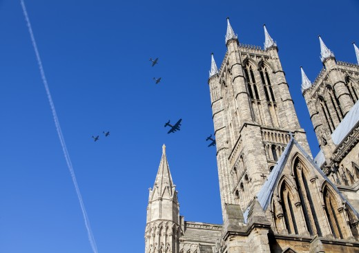 The CWH Lancaster was escorted over the Lincolnshire Cathedral by the RAF Lanc and various Spitfires and Hurricanes on her way home.