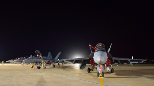 CF-18s have arrived at their base in Kuwait.