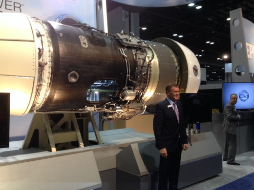 P&WC CEO John Saabas unveils the new PW800 at NBAA in Orlando.