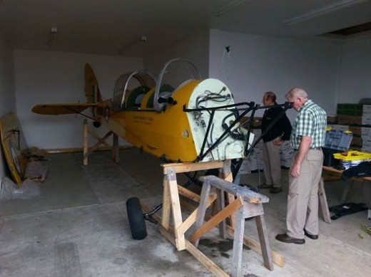 Tiger Moth damaged in takeoff accident is undergoing repairs.