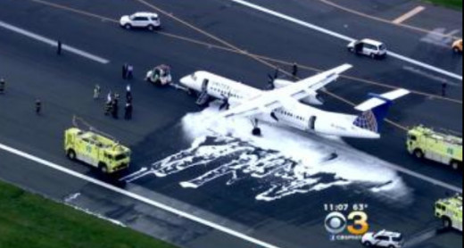 A Q400 made an emergency landing Tuesday after an engine fire.