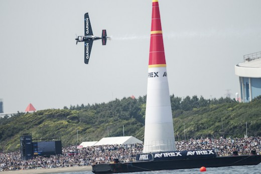 Pete McLeod of Canada performs during the second stage of the Red Bull Air Race World Championship in Chiba, Japan on May 17, 2015.