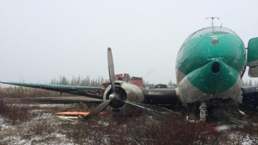 A Buffalo C-46 was badly damaged in Deline, NWT. (CBC submitted photo)