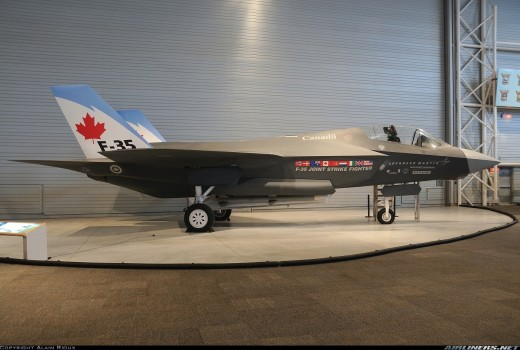 F-35 mock-up in Canadian livery.