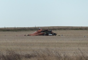 Wreckage of a helicopter that crashed near Saskatoon. CBC Photo