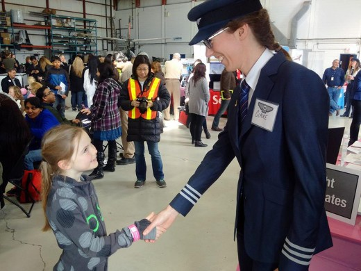 Porter Airlines pilot Claire Lemiski attended the Oshawa event.