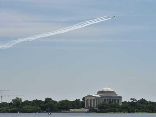 Snowbirds over Washington, D.C. last week.