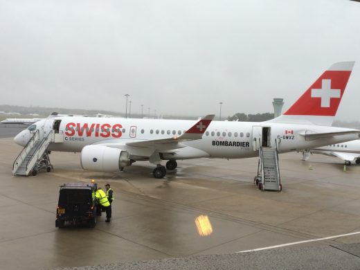 Bombardier is flying demo flights at Farnborough.