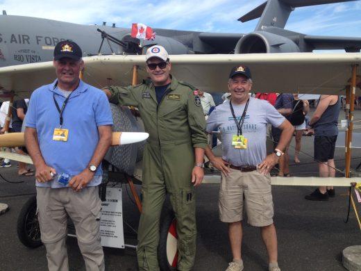 Lt. Gen. Mike Hood, with Vimy Flight volunteers Peter Thornton, left, and Larry Ricker.