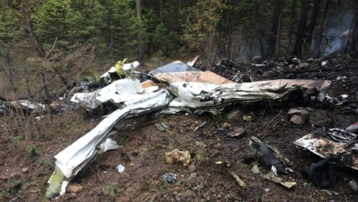 A Citation carrying four people crashed near Kelowna last week.