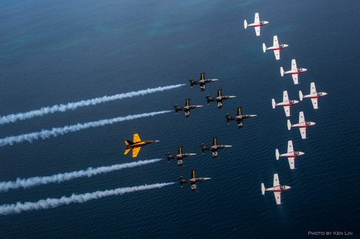 There are 16 airplanes in the formation. Ken Lin Photo.